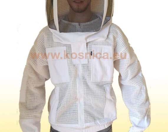 Troslojna ventilirajuća pčelarska jakna je dio osnovne pčelarske opreme. Pčelarska jakna sa šeširom.